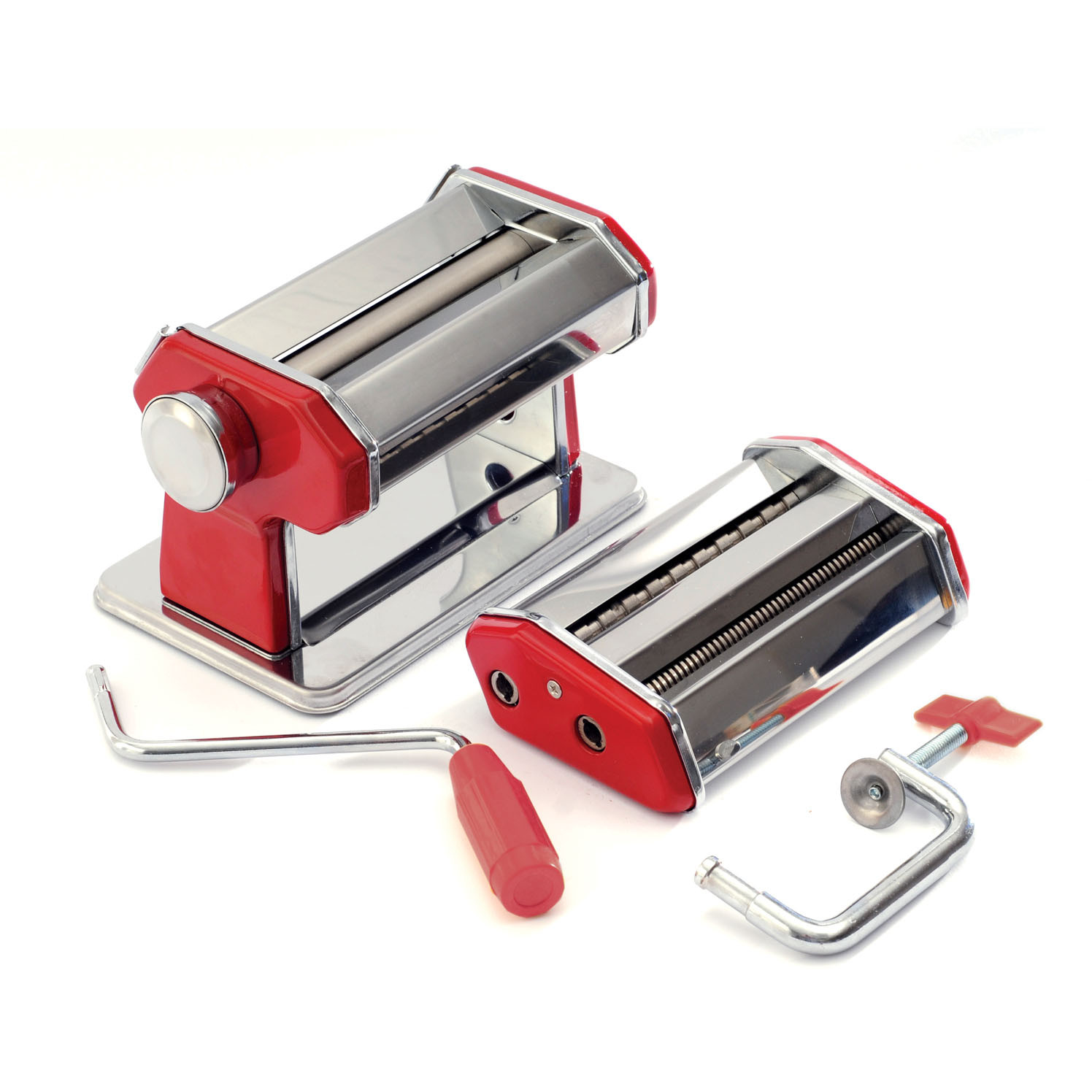Norpro Stainless Steel and Red Hand Crank Pasta Machine
