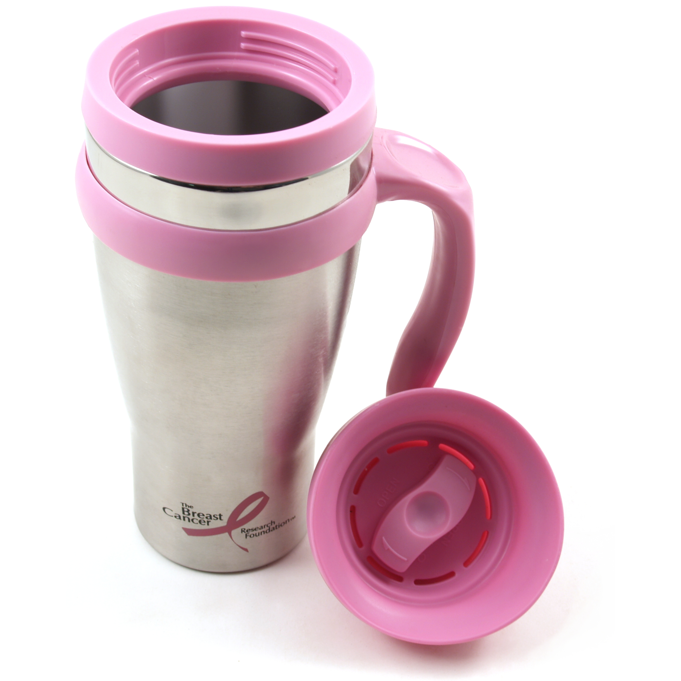 Trudeau Drive Time Brushed Stainless Steel Travel Mug with Pink Handle, 18 Ounce