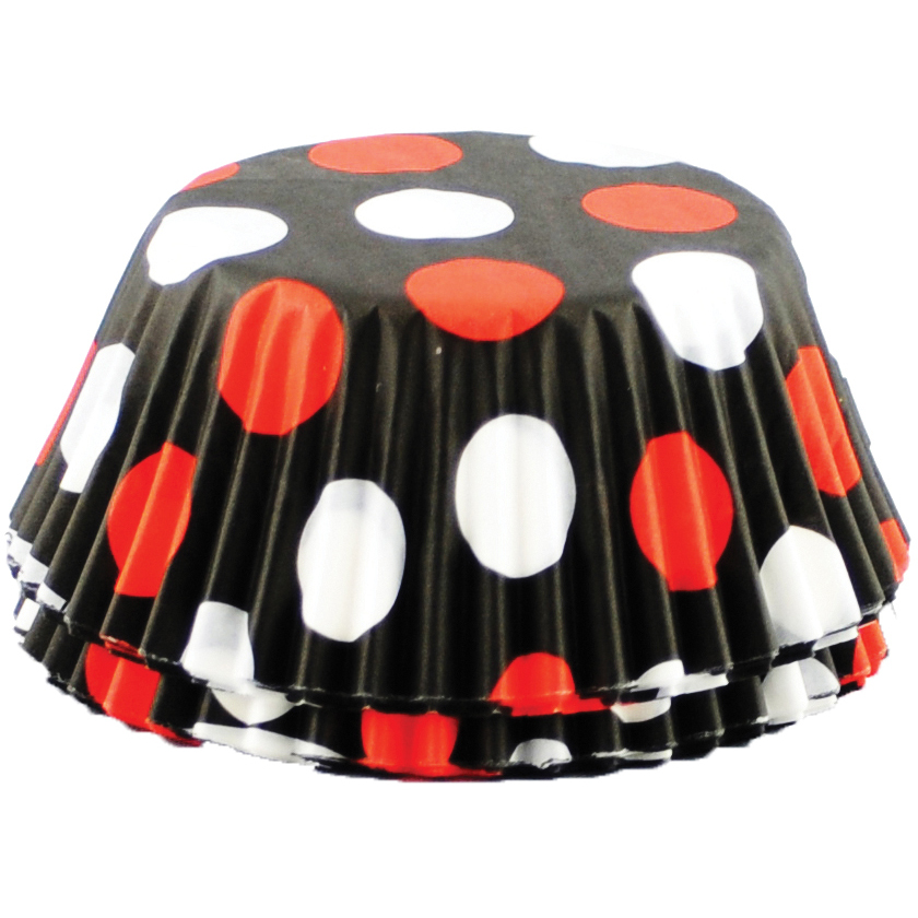 Foxrun Red and White Polka Dot Standard Baking Cup, Set of 50