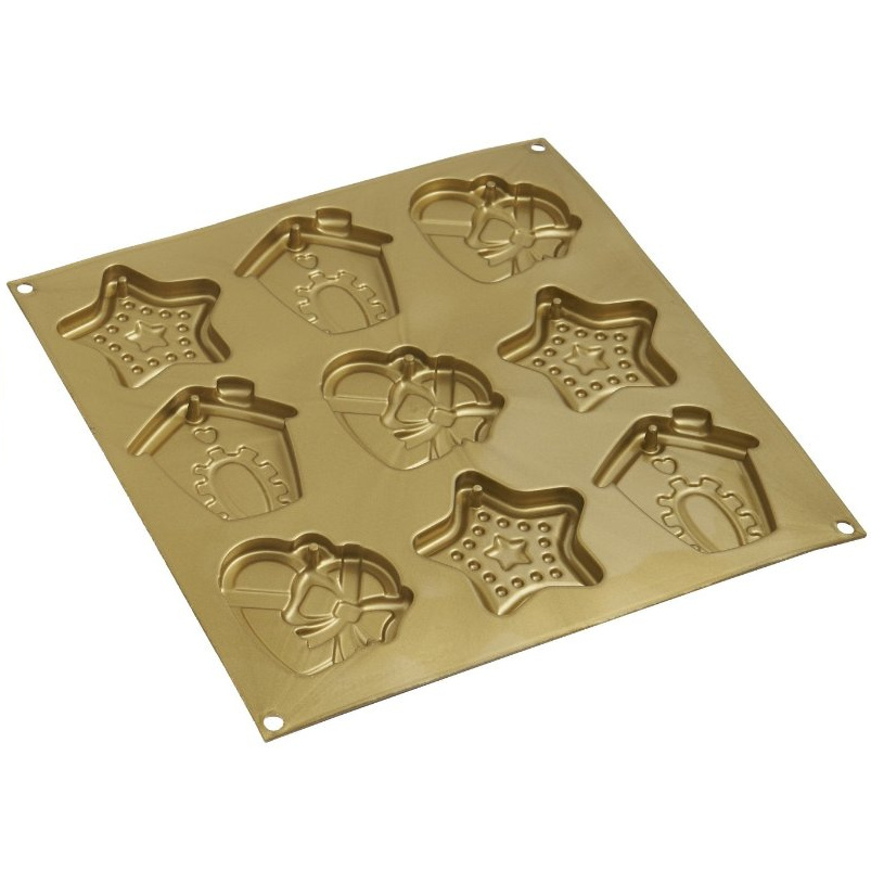 Silikomart Let's Celebrate Home and Stars Gold Silicone Christmas Cookie Baking Mold