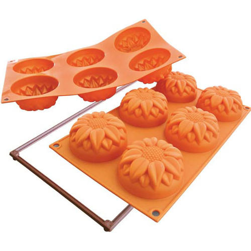 Silikomart Fancy and Function Sunflower Orange Silicone Multi Cake Pan