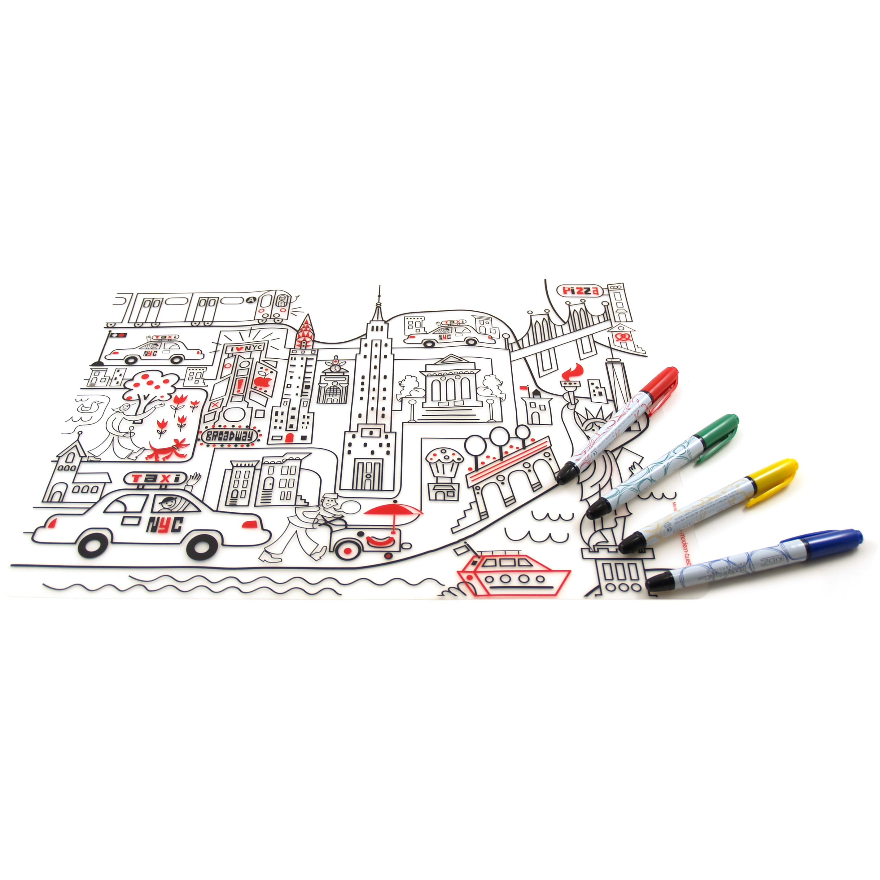 Modern Twist Kid Box New York Placemat with 4 Markers