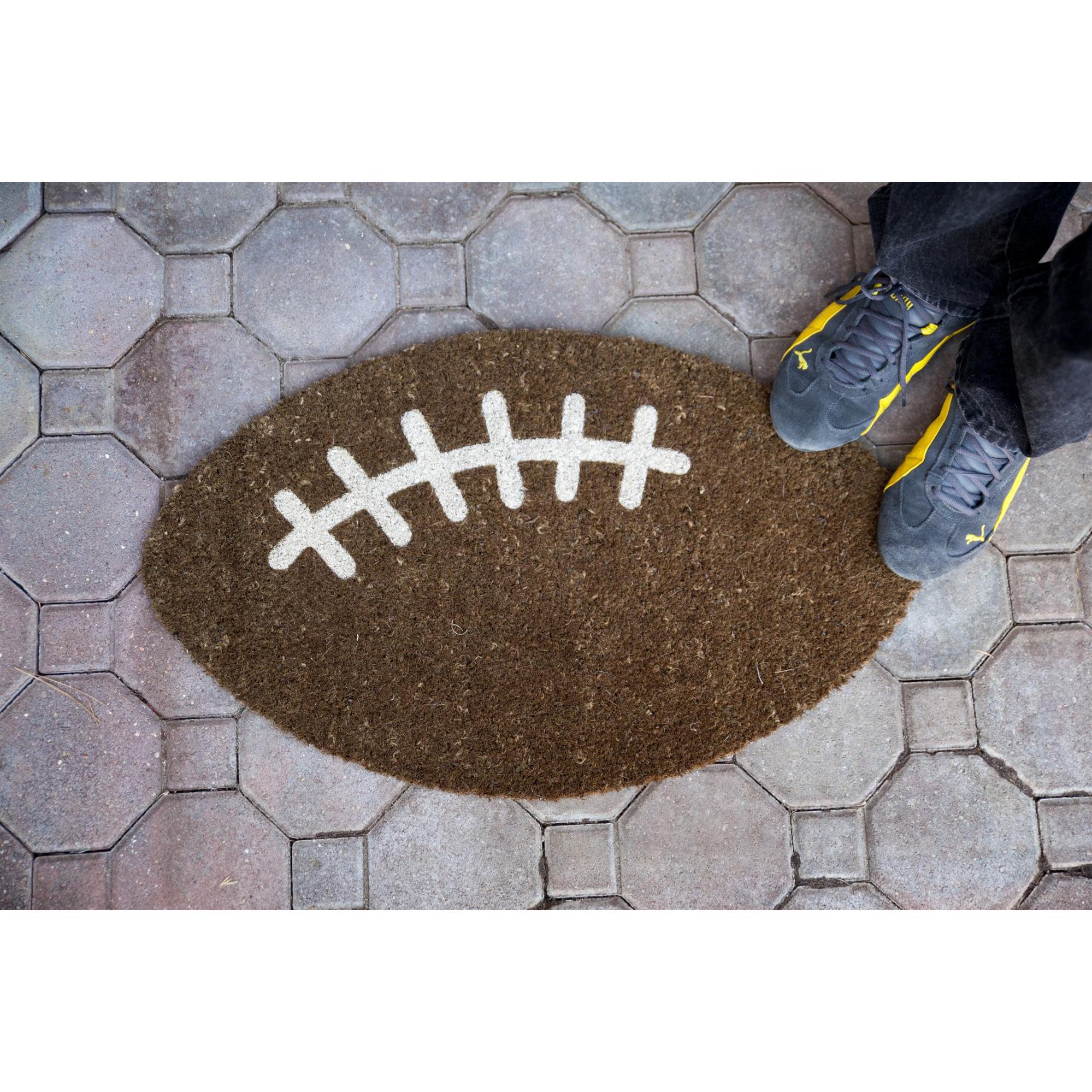 Entryways Football Non Slip Coir Doormat