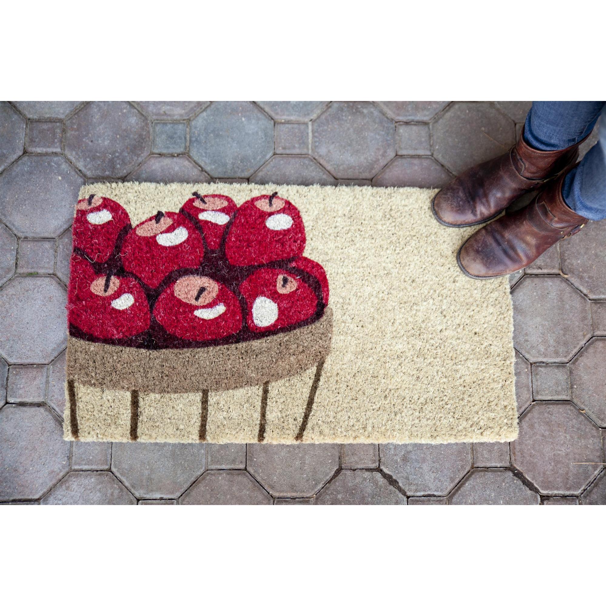 Entryways Apples Handwoven Autumn Themed Coconut Fiber Doormat, 18 x 30 Inch