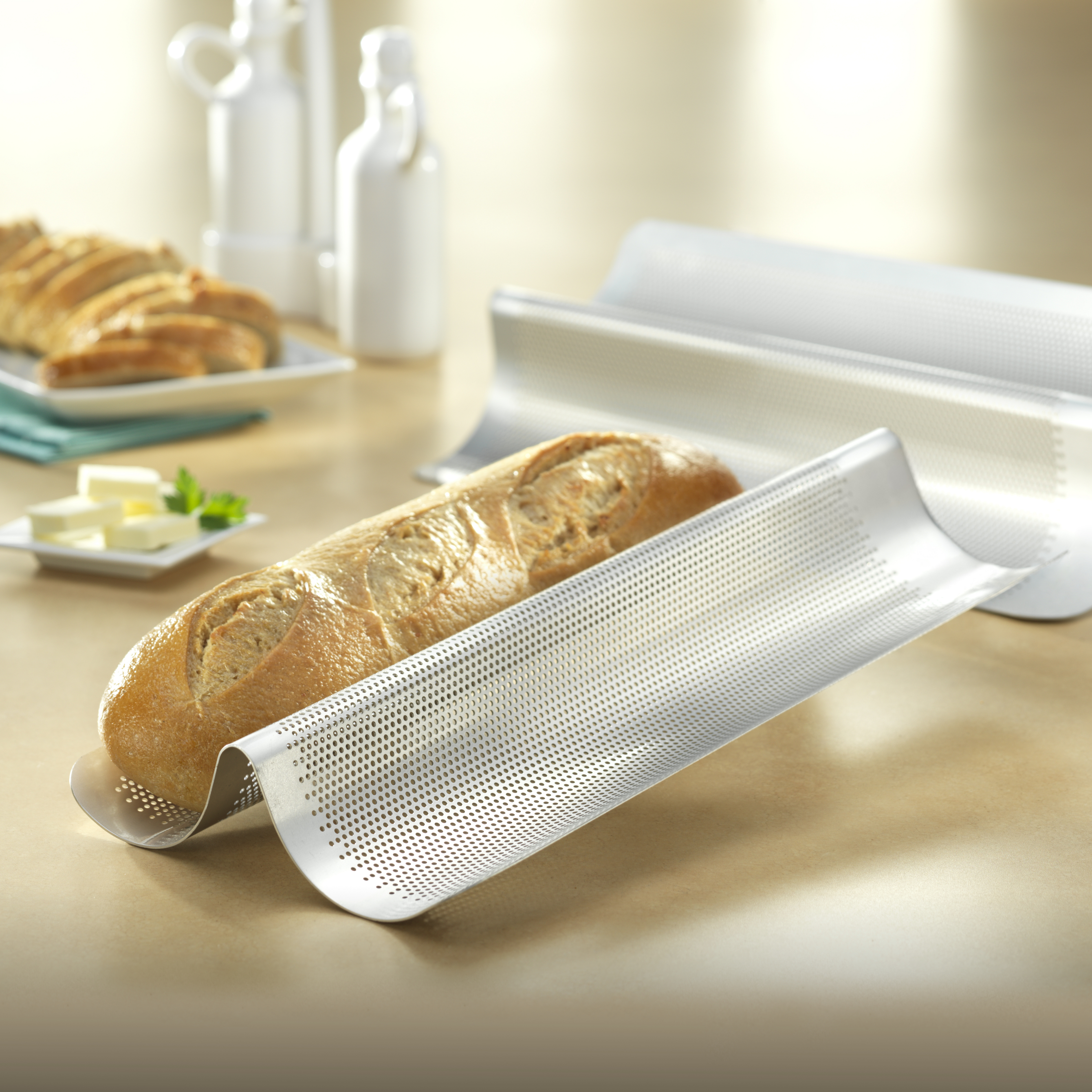 USA Pan Perforated Aluminized Steel Double Welled Italian Loaf Pan, 8 x 16 Inch