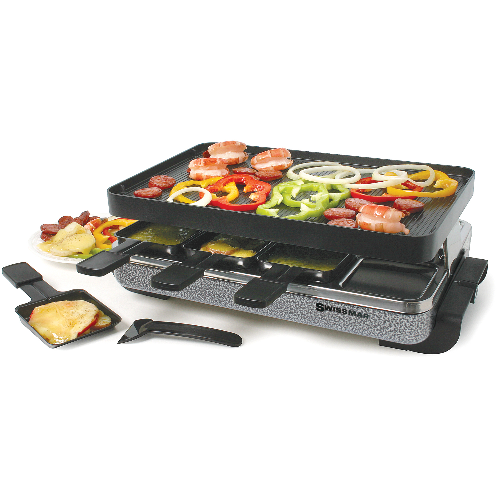 Swissmar 8 Person Black Eiger Electric Raclette Grill with Reversible Cast Iron Grill Plate