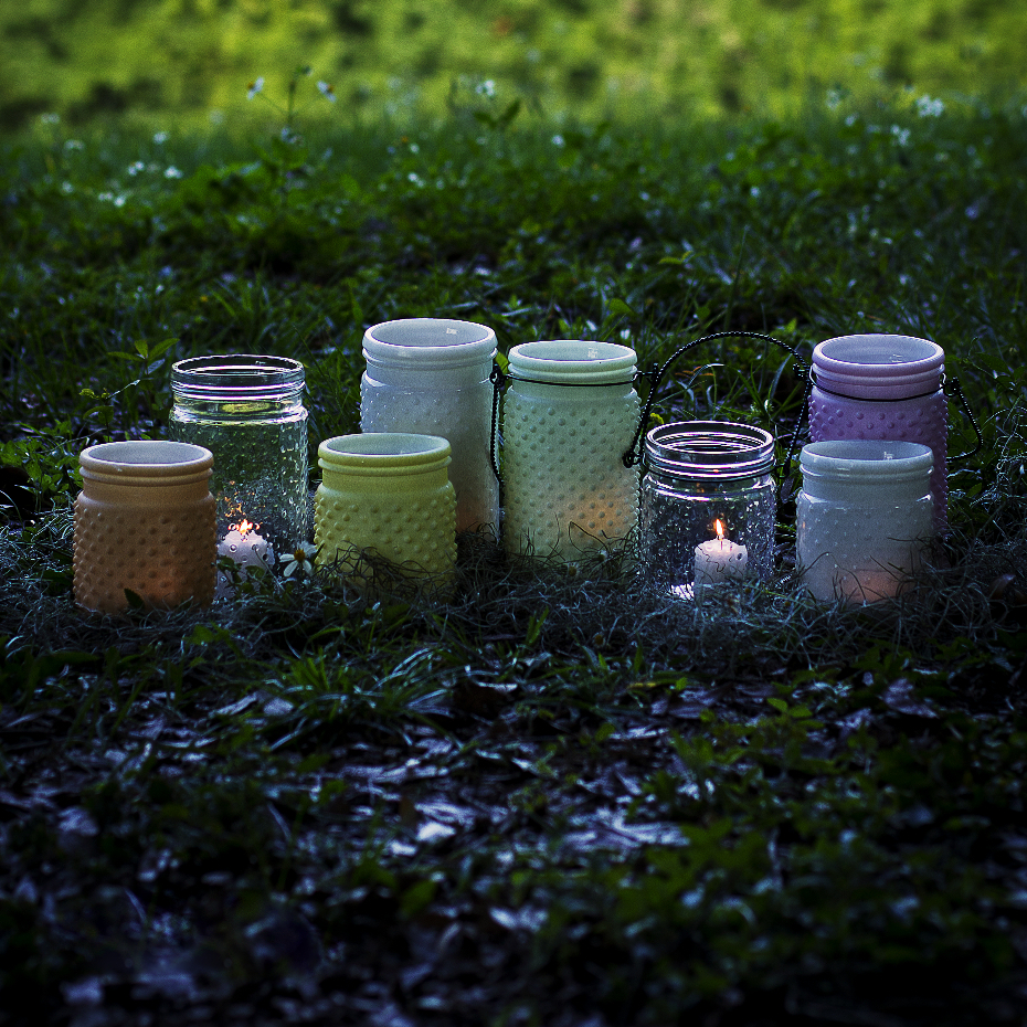 Sunday Morning Home Small Citron Glass Hobnail Jar