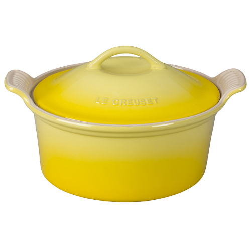 Le Creuset Heritage Soleil Yellow Stoneware Covered Round Casserole Dish, 3 Quart