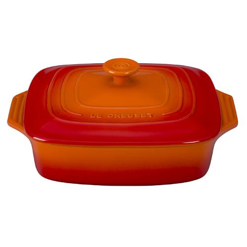 Le Creuset Flame Stoneware Covered Square Casserole Dish, 2.75 Quart