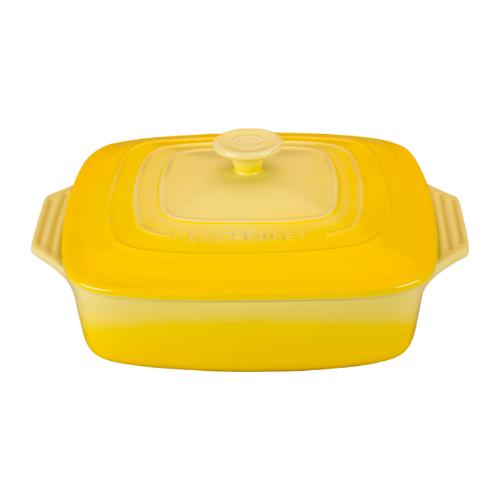 Le Creuset Soleil Yellow Stoneware Covered Square Casserole Dish, 2.75 Quart