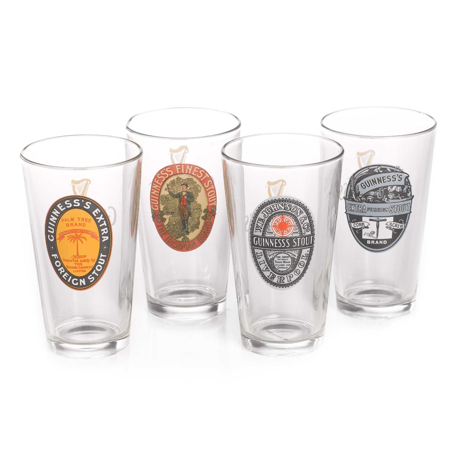 Guinness Assorted Vintage Pint Glass, Set of 4