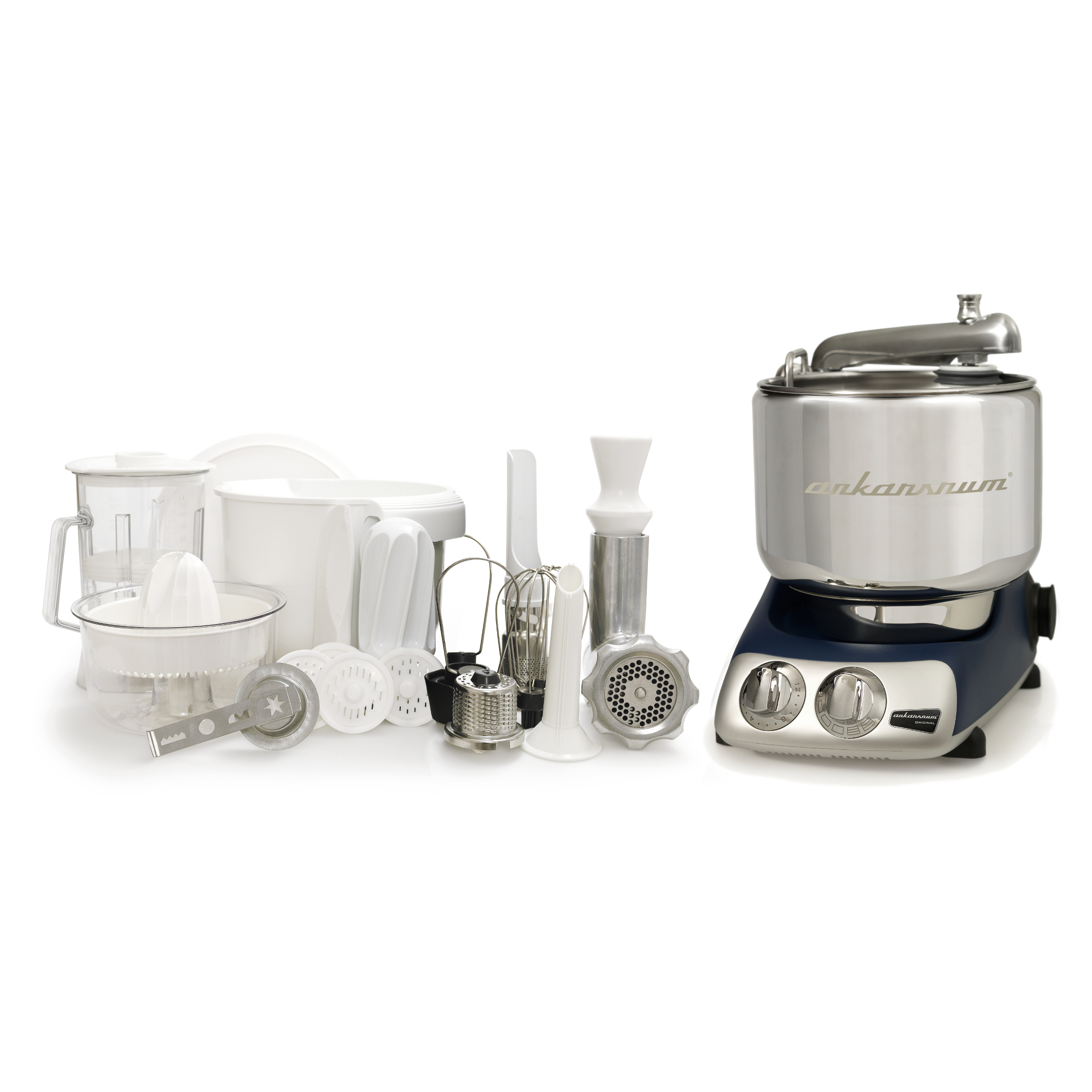 Ankarsrum Original AKM 6290 Royal Blue Stand Mixer Deluxe Package