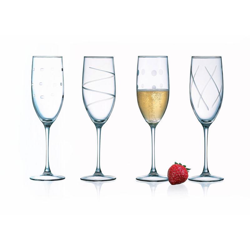 Arc International Soho Assorted Embossed Design Flute Glassware with Stem, Set of 4