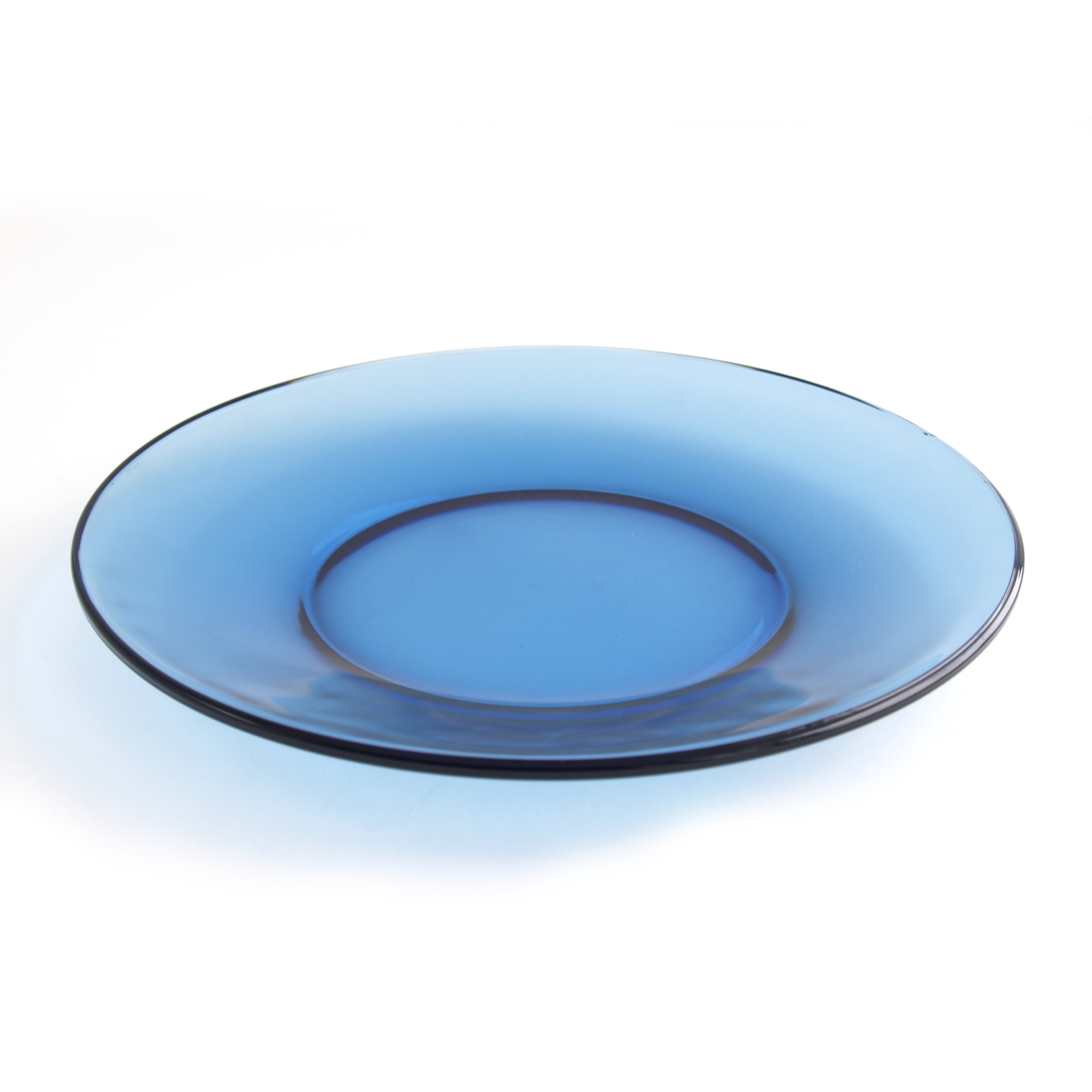 Anchor Hocking Presence Denim Blue Glass 8 Inch Plate, Set of 6