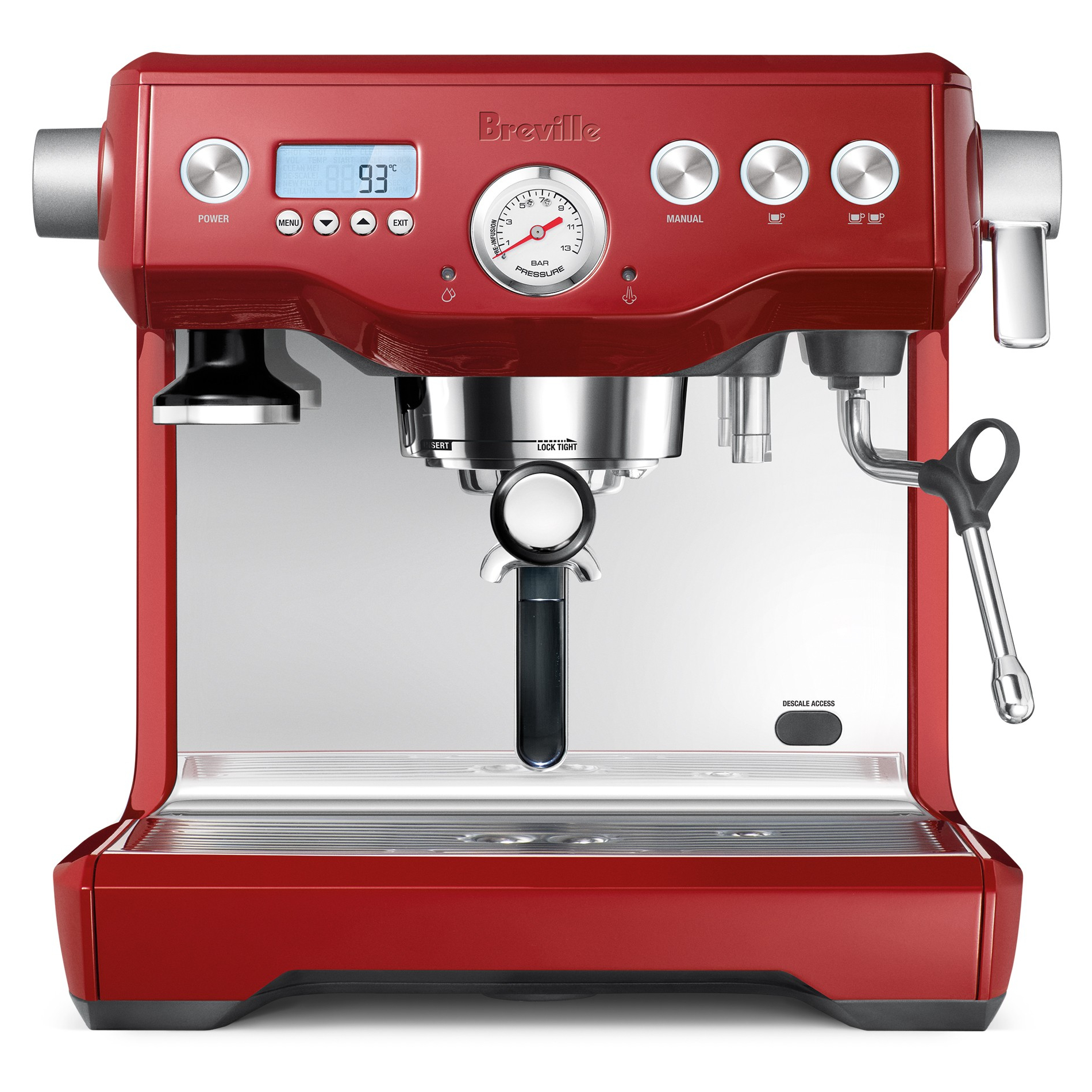 Breville Dual Boiler Cranberry Red Descalable Espresso Machine
