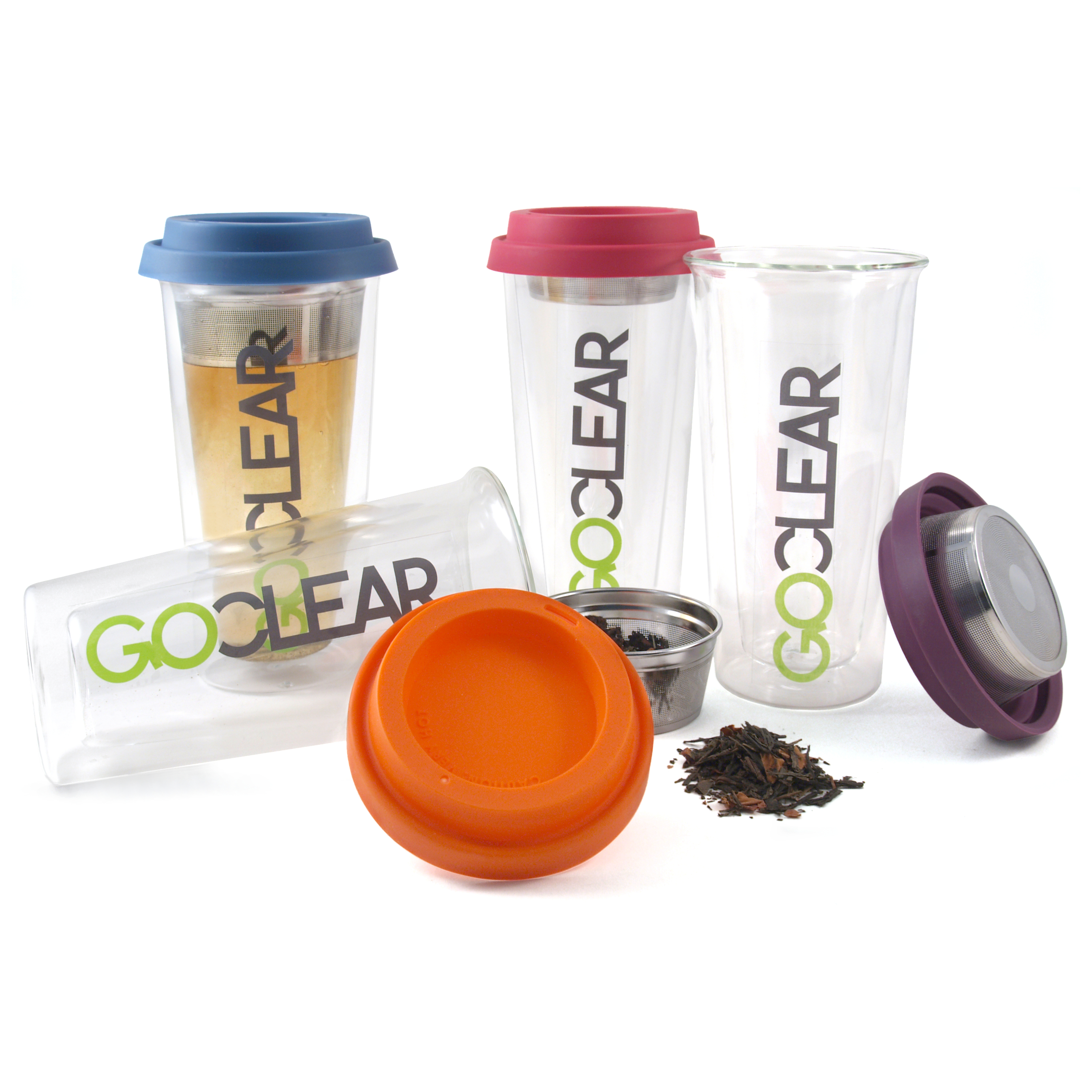 GoClear Tangerine Double Walled Glass Tumbler with Silicone Lid and Tea Strainer, 14.5 Ounce