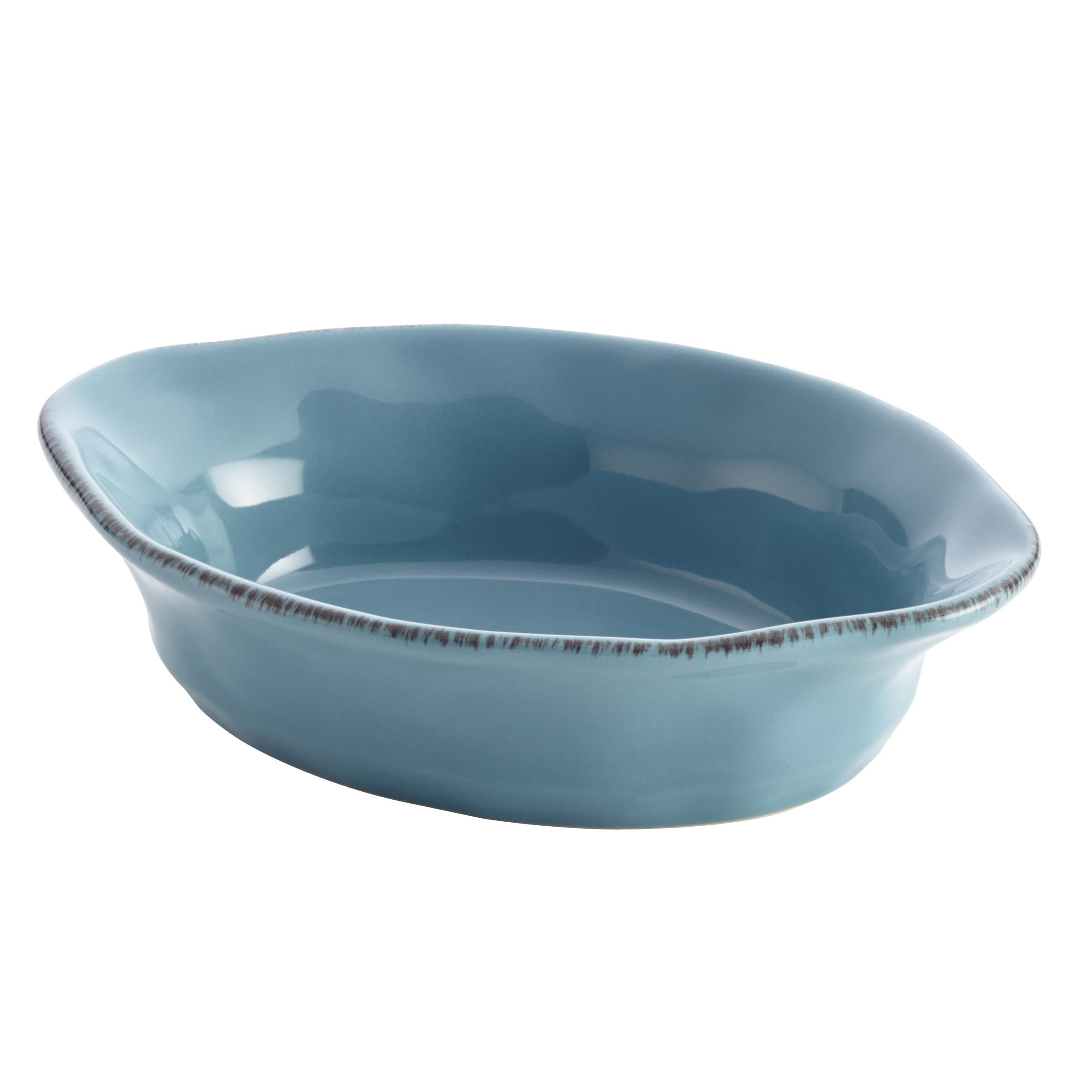 Rachael Ray Cucina Collection Agave Blue Oval Stoneware Au Gratin, 12 Ounce
