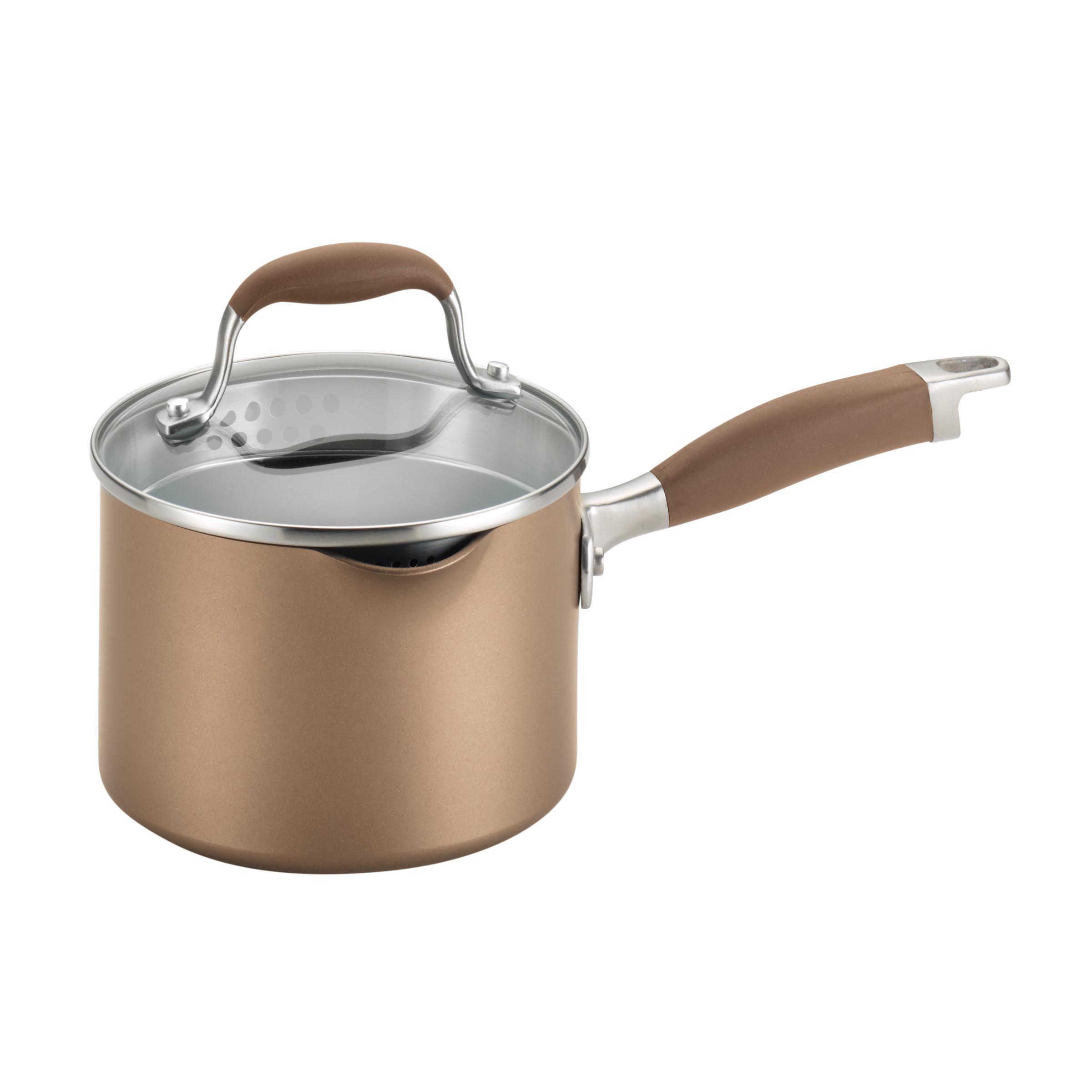 Anolon Advanced Bronze Straining Saucepan with Two Pour Spouts, 2 Quart