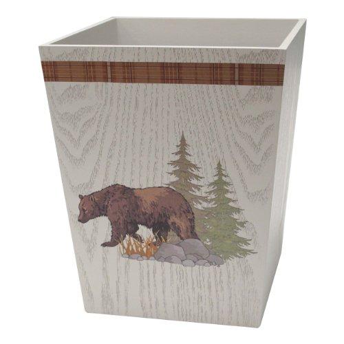 Allure Home Creations Lodge Brown Wood Tapestry Wastebasket