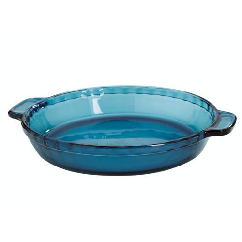 Anchor Hocking Coastal Blue Glass Single Pie Dish, 9.5 Inch