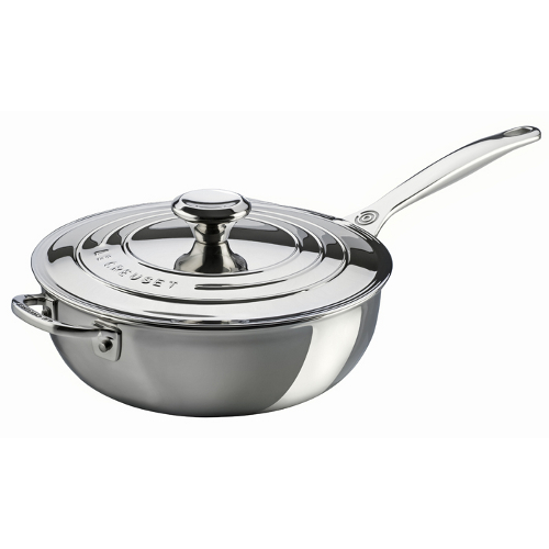 Le Creuset Tri-Ply Stainless Steel Saucier Pan with Lid, 3.5 Quart