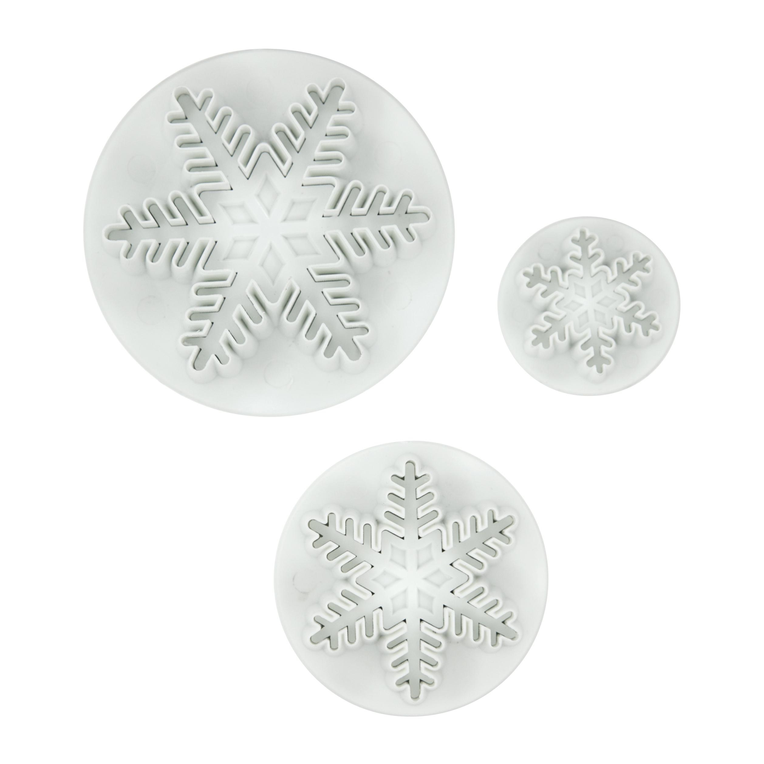 Foxrun 3 Piece Fondant Snowflake Plunger Cutter Set