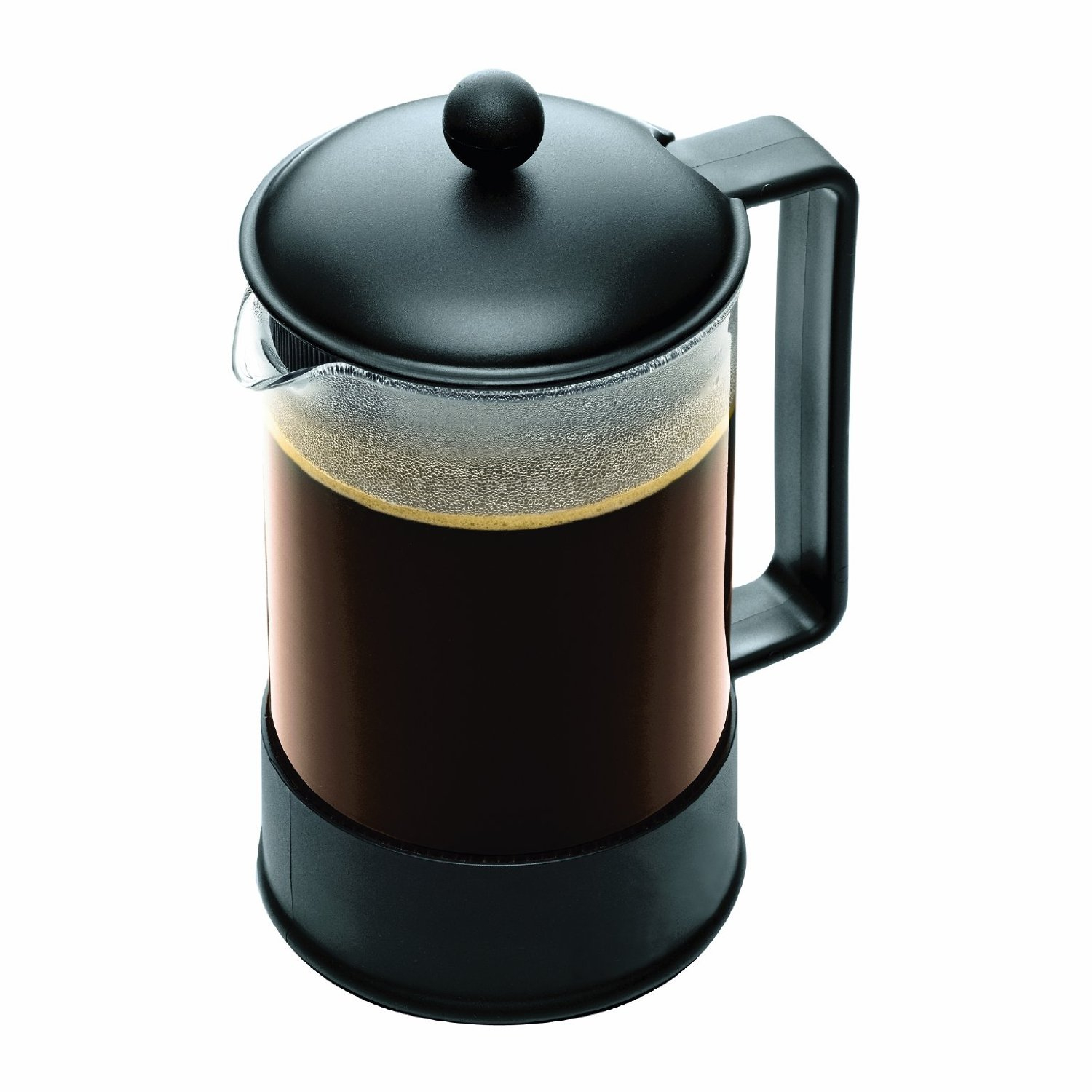 Bodum Brazil Glass French Press Coffee Maker with Black Lid, 12 Cup