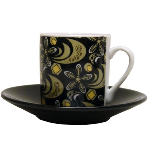 Italian Black & Gold Porcelain Espresso Cup & Saucer Set, Service for 6