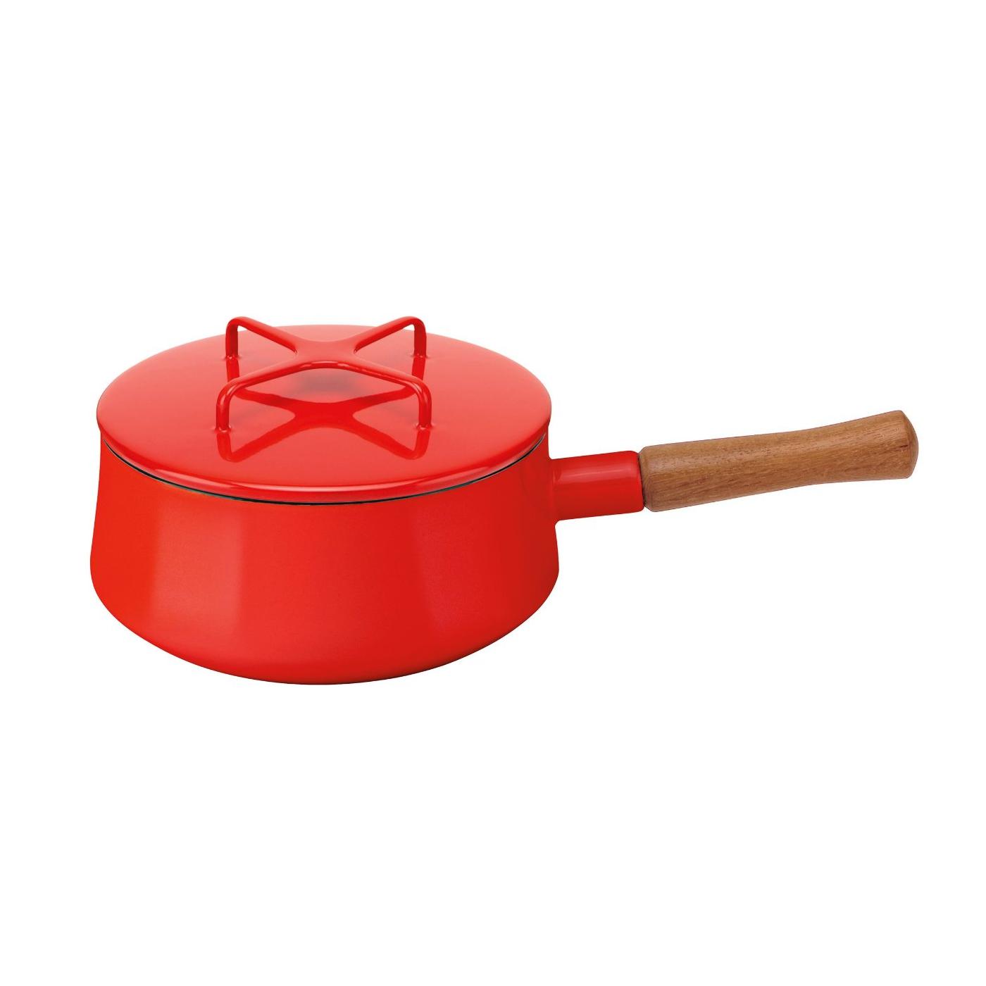 Dansk Kobenstyle Chili Red Enamel Coated Steel Saucepan, 2 Quart
