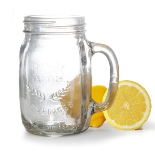 Artland Oasis Glass 15 Ounce Mason Drinking Jar with Handle