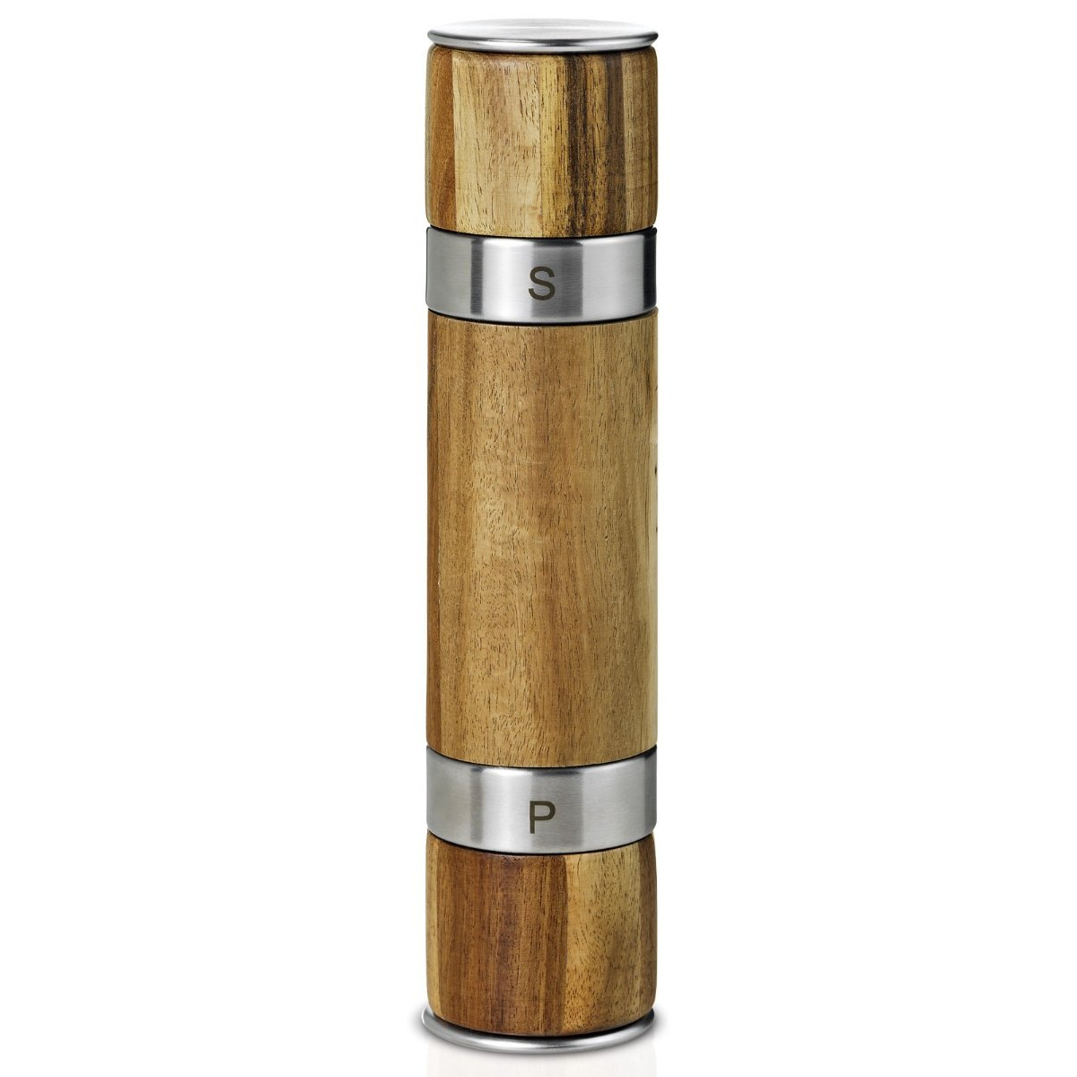 AdHoc Duomill Acacia and Stainless Steel Salt and Pepper Mill