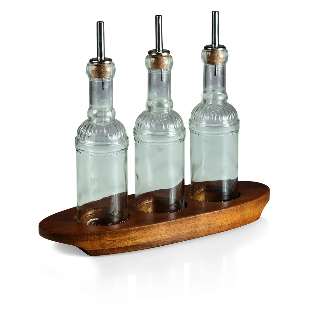 Fabio Viviani Heritage Collection Oliera Olive Oil, Vinegar, and Vinaigrette Glass Bottle Set on Acacia Base