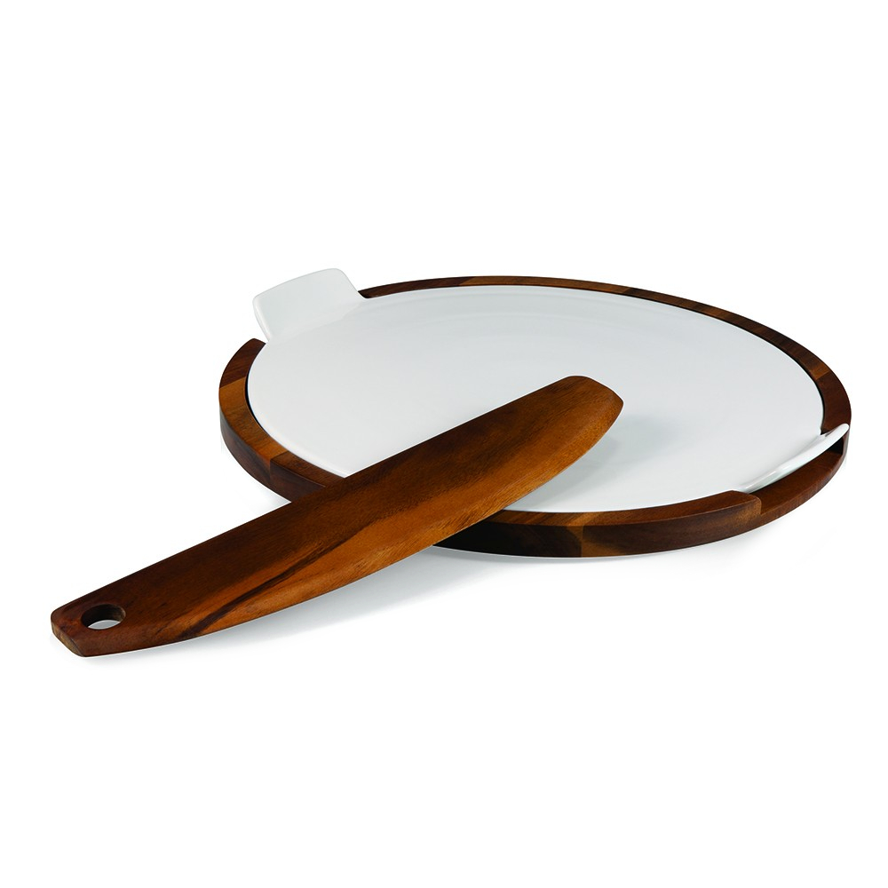 Fabio Viviani Heritage Collection Margherita Ceramic Pizza Stone Stone with Acacia Tray and Pizza Cutter