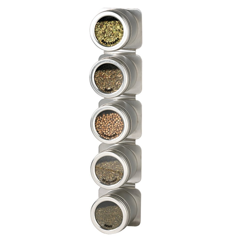 Kamenstein 5 Spice Can Magnetic Strip Rack with Canisters