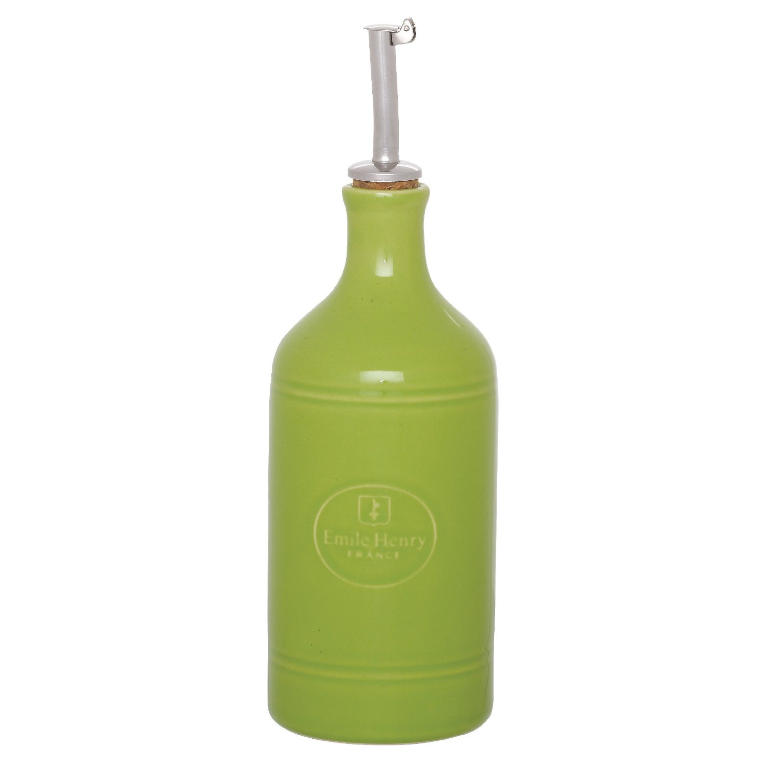 Emile Henry Green Apple Ceramic Oil Cruet with Stainless Steel Spout, 14 Ounce