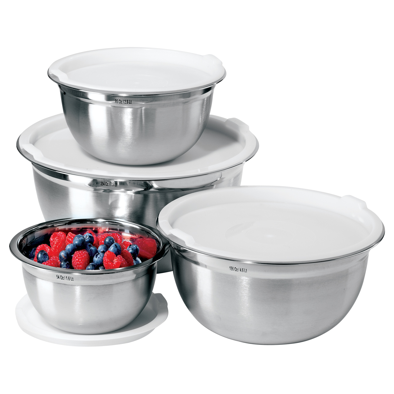 Oggi Stainless Steel 8 Piece Covered Mixing Bowl Set