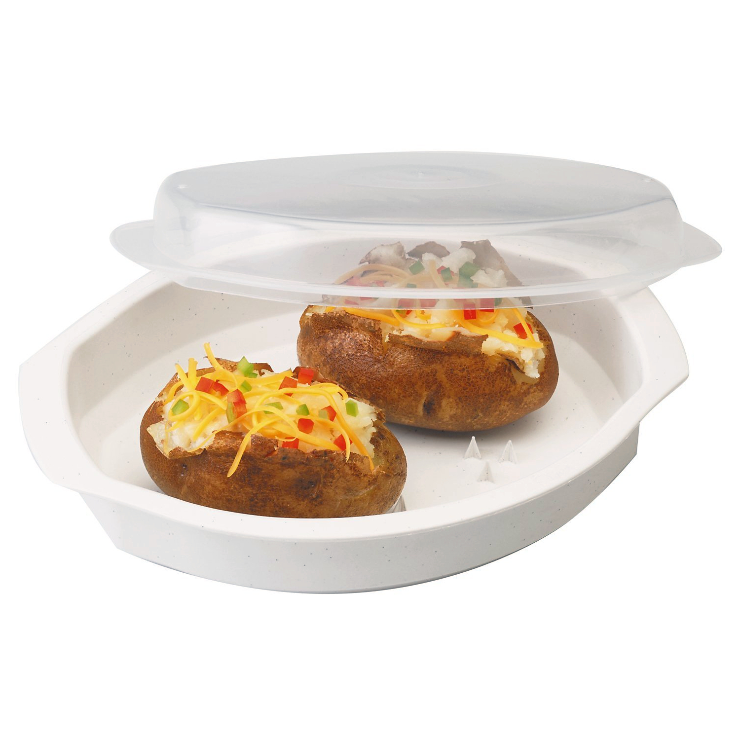 Progressive International White Microwavable Potato Cooker with Lid