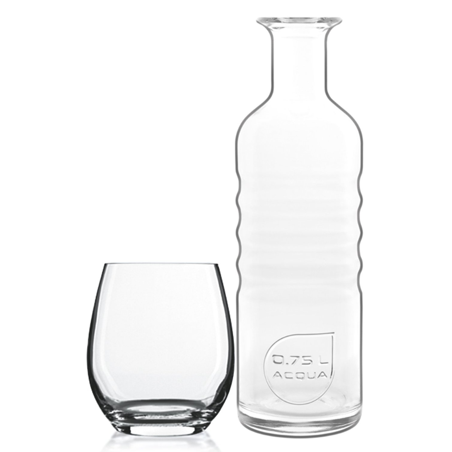 Luigi Bormioli Optima Hydrosommelier Glass 7 Piece Water Set with Bottle