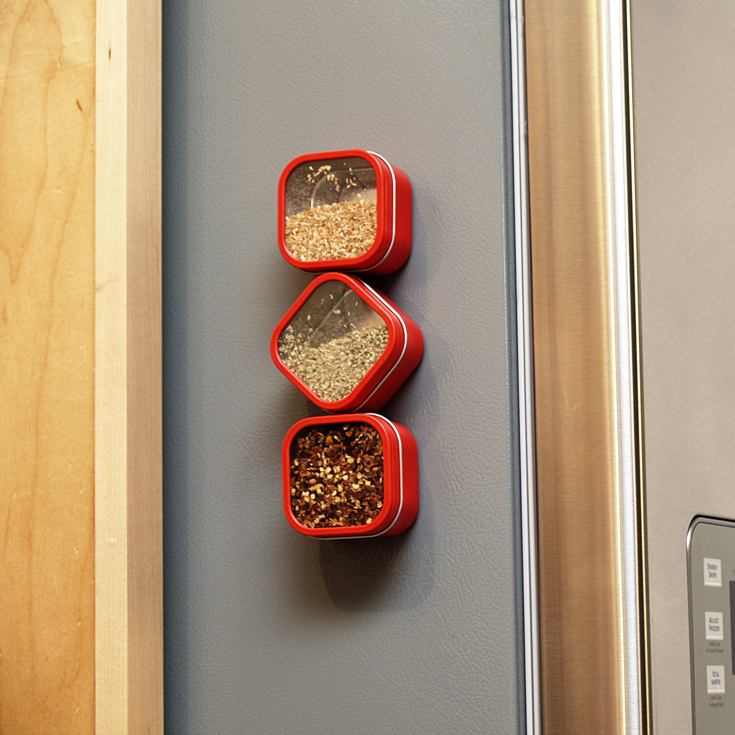 Three by Three Hold Up Red Tin Storage Bin, Set of 3