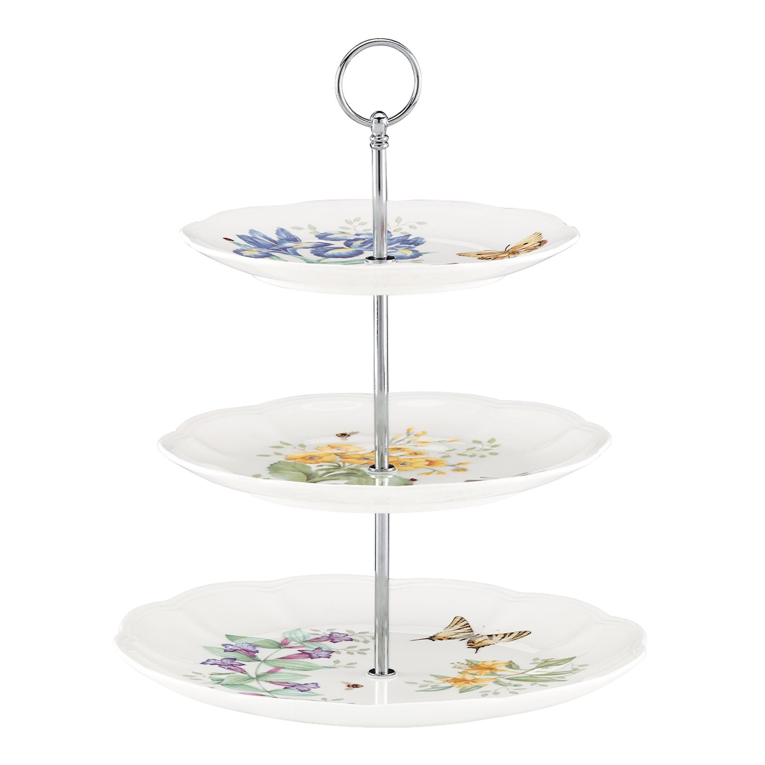 Lenox Butterfly Meadow Porcelain 3 Tiered Server