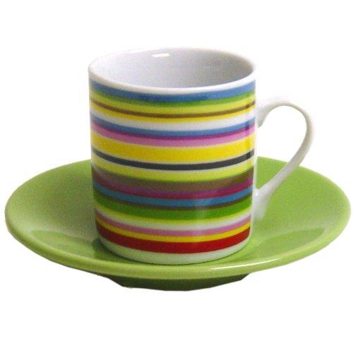 Italian Stripe Porcelain Espresso Cup & Saucer Set, Service for 6