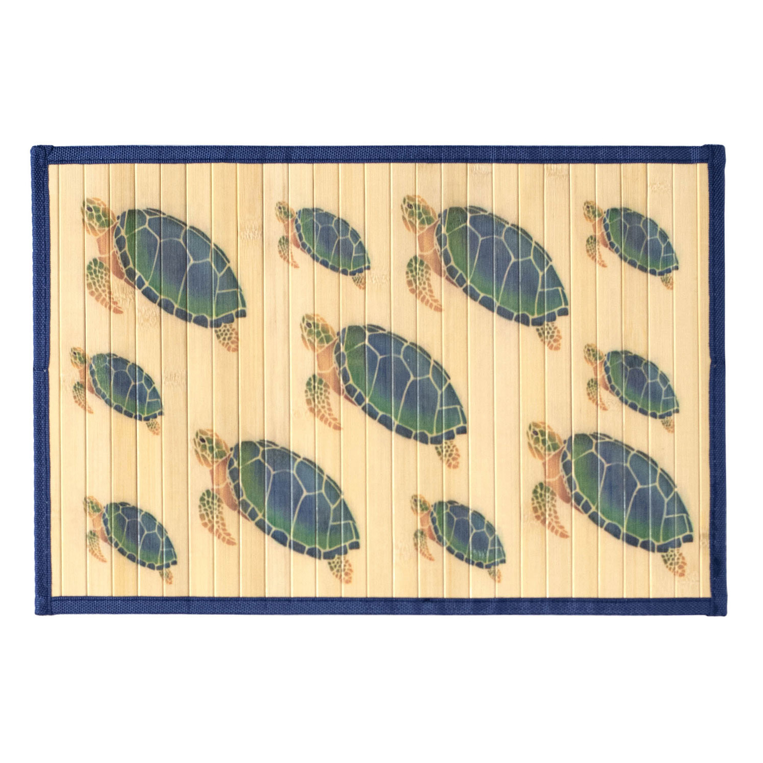 Sunday Morning Home Veranda Sea Turtle Bamboo 12 x 18 Inch Placemat, Set of 6