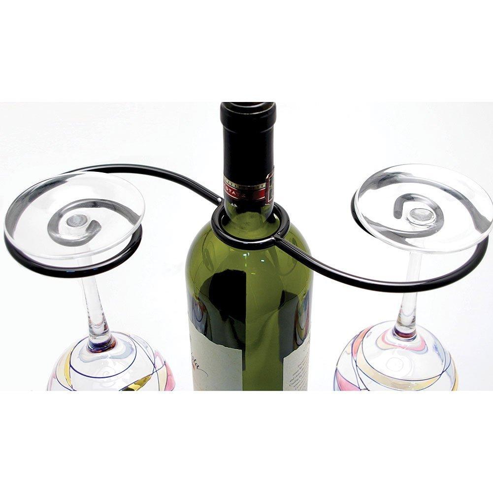 Supreme Housewares Black Cast Iron Wine Glass Go Round Caddy