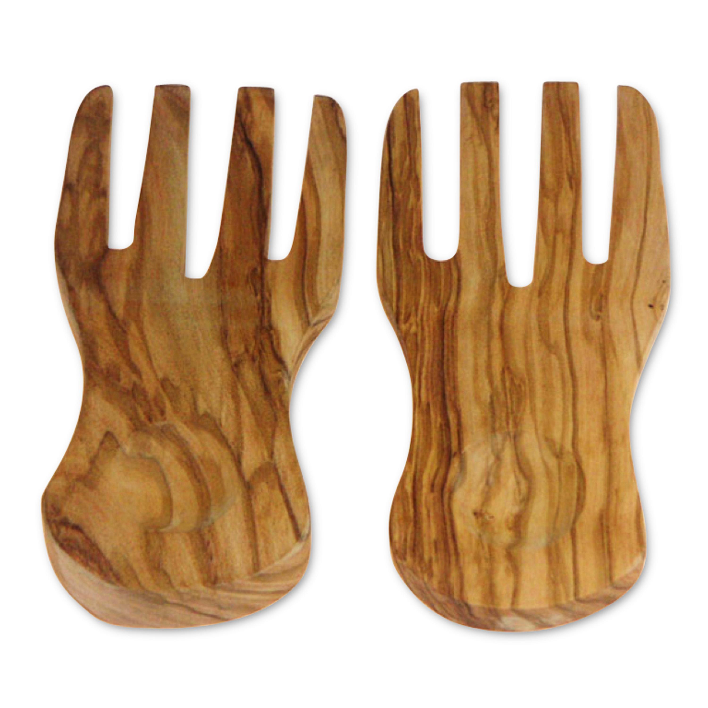 Berard Curved Olive Wood 2 Piece 7.7 Inch Server Hands Set