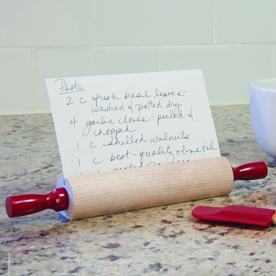Fletcher's Mill Hardwood Rolling Pin Recipe Card Holder with Red Handles