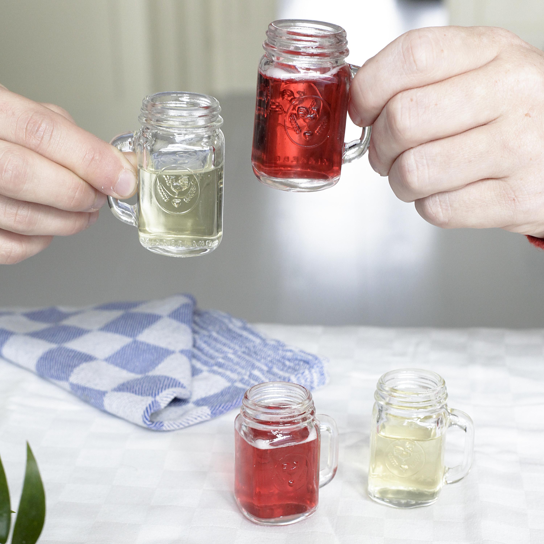Kikkerland Mason Jar 1.5 Ounce Shot Glass, Set of 4