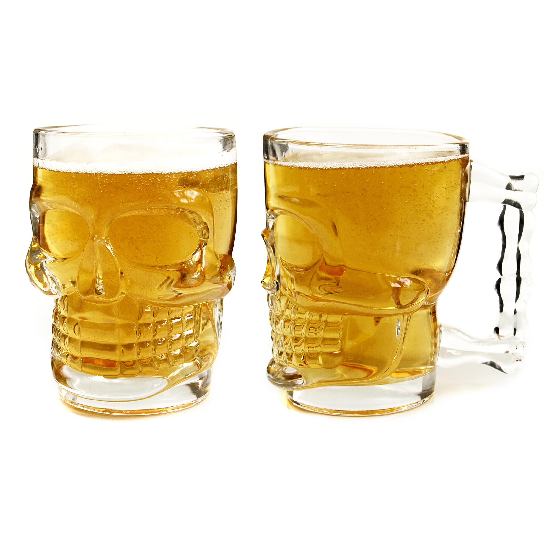 Kikkerland Glass Skull 16 Ounce Beer Stein
