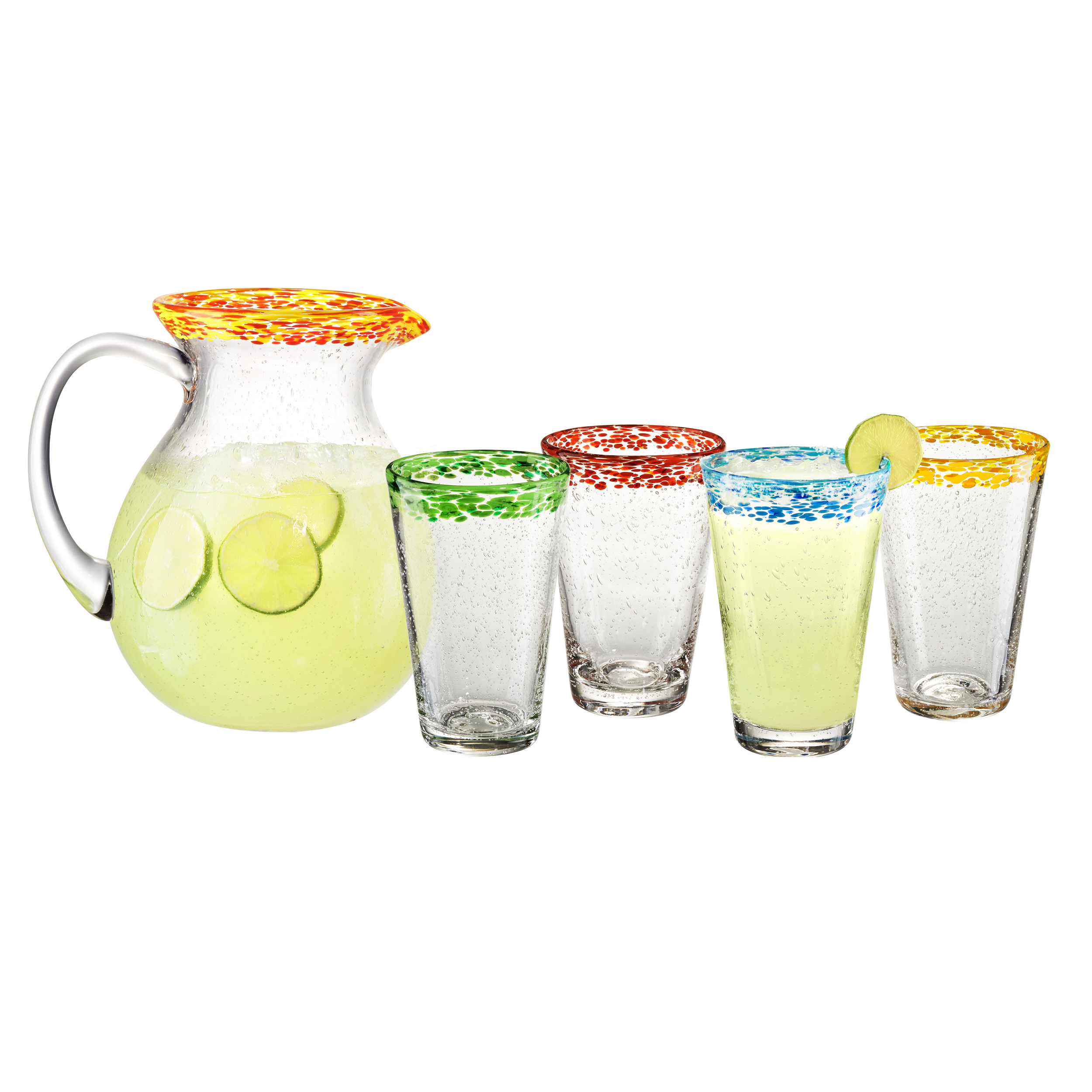 Artland Mingle 5 Piece Glass Beverage Pitcher and Tumbler Set
