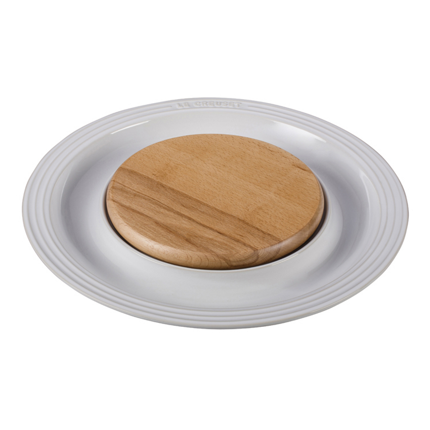 Le Creuset White Stoneware Cheese Server with Beechwood Cutting Board