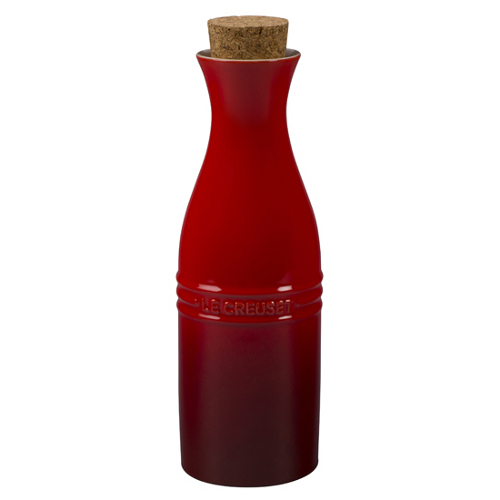 Le Creuset Cherry Stoneware Large 750 mL Carafe with Cork Stopper